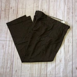 Daniel Cremieux brown pleated pinstriped pants